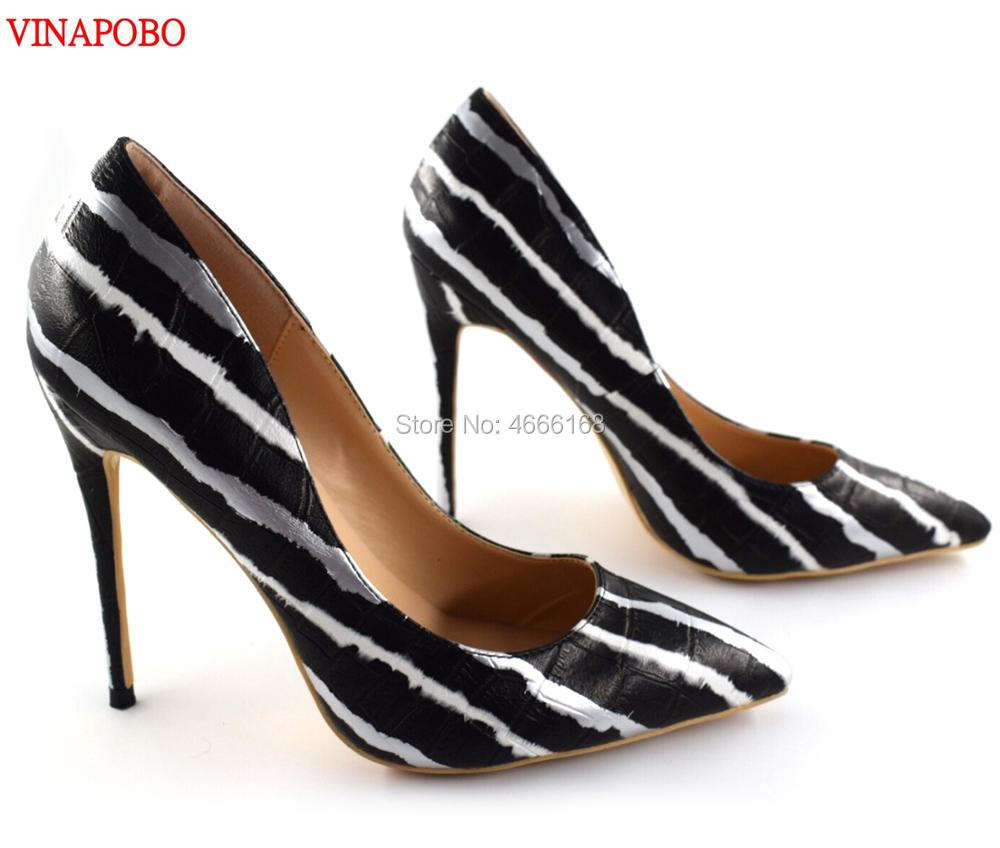 Vinapobo Elegant Zebra Striped Snake Print High Heel Pumps High Heels Pointed Toe Patent Leather Stiletto
