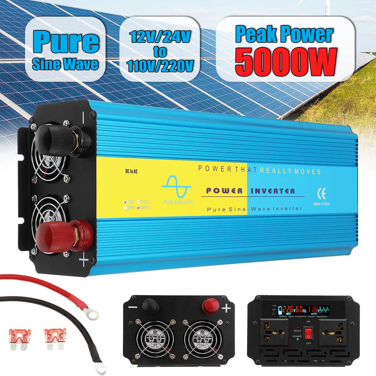 Pure Sine Wave Solar Inverter 12V 220V 2500W 5000W Peaks Voltage Converter Transformer DC 12V/24V To AC 110V/220V 50Hz/60HzPure Sine Wave Solar Inverter 12V 220V 2500W 5000W Peaks Voltage Converter Transformer DC 12V/24V To AC 110V/220V 50Hz/60Hz