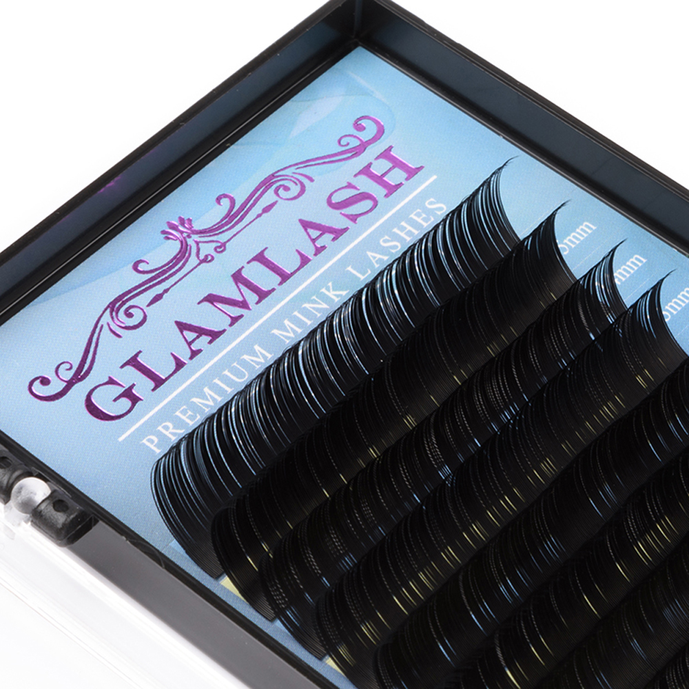 GLAMLASH 16rows 7 15mm mix 100 Handmade False eyelash extension supplies Silk Mink lash extension Individual Cilia in False Eyelashes from Beauty Health
