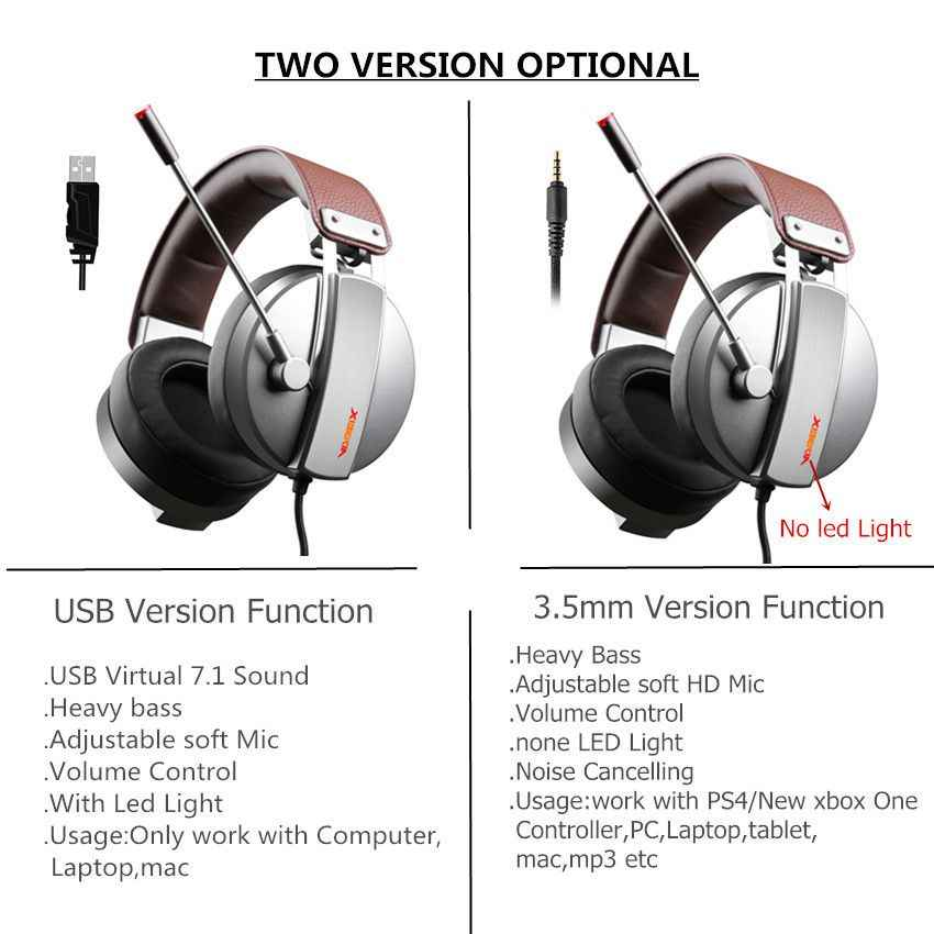 Xiberia S22 PRO PC Gamer Headset Gaming Headphones with Microphone for  Computer USB 7 1 Surround Sound Game Headset Bass Casqu