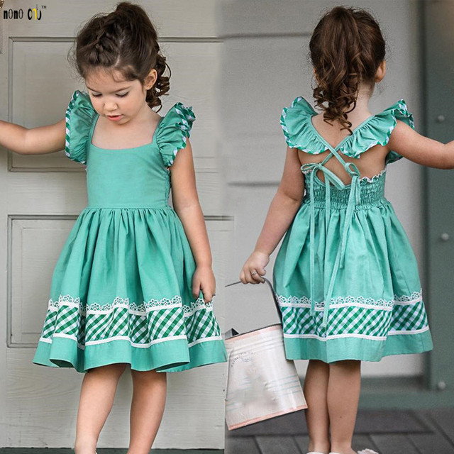 3633b48e342 2019 Summer Girls Dress Kids Clothes Flutter Sleeve Plaid Spliced Backless  Bandage Dresses Child Girl Vestido 1 2 3 4 5 Years