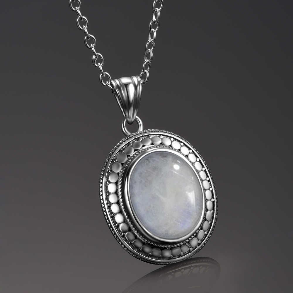 10x12MM gran piedra lunar Natural 925 joyería de plata esterlina colgante collar con cadena para mujeres regalos de fiesta de aniversario Vintage