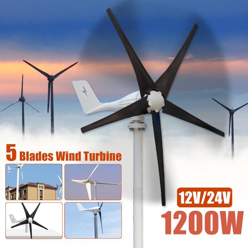 1200W 12 V 24 volts 5 lames de Fiber de Nylon Horizontal éoliennes générateur puissance moulin à vent chargeur d'énergie Kit Home noir