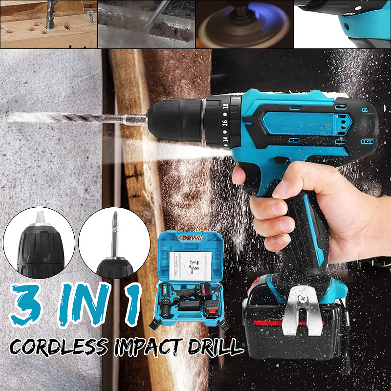 1500amh 21V Cordless Electric Wrench Impact Socket Wrench Li Battery Hand Drill Hammer Installation Power Tools