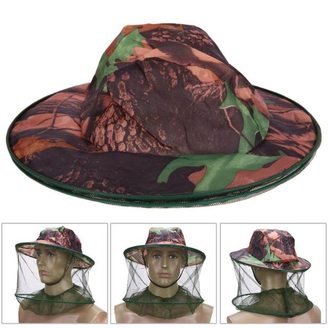 Camouflage Fishing Hat Bee keeping Insects Mosquito Net Prevention Cap Mesh Fishing Cap Outdoor Sunshade Lone Neck Head CoverZ70 2