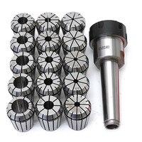 16pcs/set ER32 Collet Chuck Holder MT3 M12 Morse Taper + ER32 Spring Collets ID 3 20mm For Lathe Milling Tools