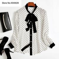 Европа высокого класса 2019 весна мода уличная женская блузка Slik Dot Печать лук воротник с длинным рукавом Повседневная рубашка Топы Q222