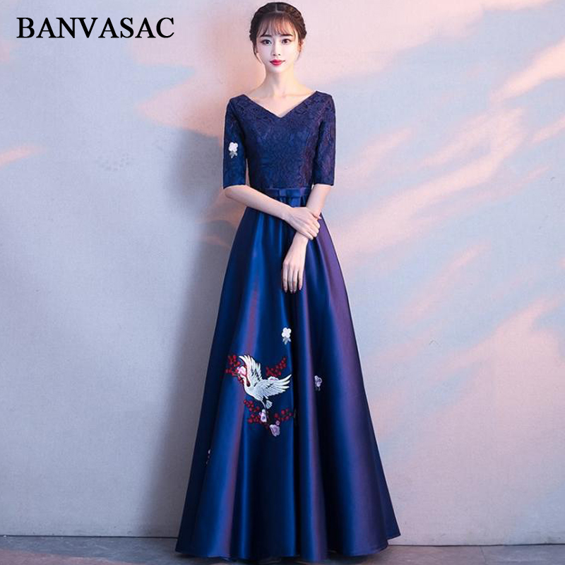 BANVASAC Elegant V Neck Pattern Embroidery A Line Long Evening Dresses Party Lace Half Sleeve Bow Sash Prom Gowns