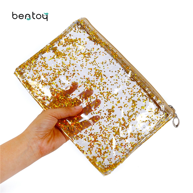 Transparent Pvc Pouch Make Up For Women Moved Sequins Clutch Handbag Travel Toiletry Bags Large Organizer Cosmetic Bag Pen Case