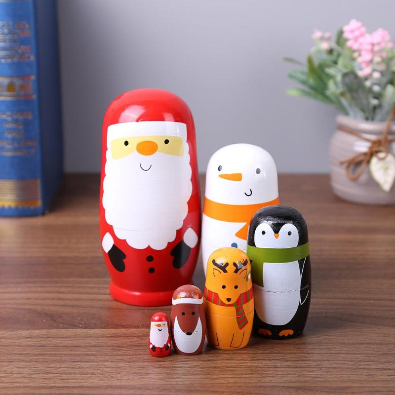 6 teile/satz Neuheit Nesting Holz Matryoshka Puppe Set Hand Bemalt Decor Russian Nesting Dolls Baby Dekoration Ornament Geschenke