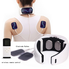 лучшая цена Electric Neck And Back Pulse Massager Infrared Heating Vertebra Treatment Shoulder Health Care Massager Cervical Pain Relief