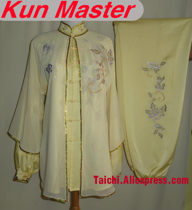 Custom Tai Chi Performance Uniform Gold And Silver  Embroidery  Martial Art Clothing For Kung Fu Yellow Color Three Pieces