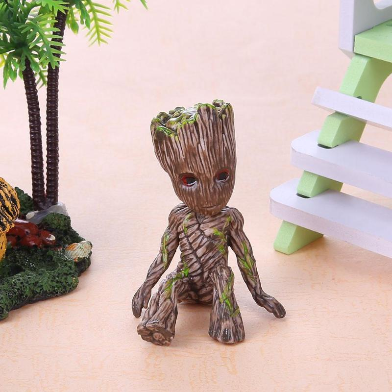 Baby Groot Flowerpot Flower Pot Planter Figurines Tree Man Cute Model Toy Pen Pot Garden