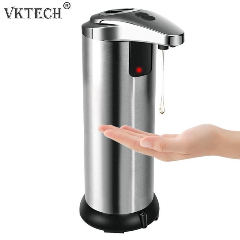 250 ml Dispensador Automático de Sabão Sensor Inteligente Cozinha Banheiro Líquido Garrafa Recipiente de Aço Inoxidável Dispensador de Sabão Líquido
