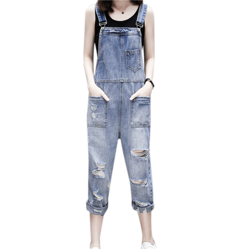 Women Denim Overalls Casual Loose Ripped Hole Jumpsuits 2019 Summer Fashion Jeans Blue Pocket Playsuits