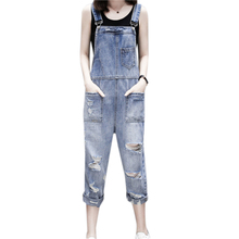Women Denim Overalls Casual Loose Ripped Hole Jumpsuits 2019 Summer Fashion Jeans Overalls Blue Pocket Playsuits цена