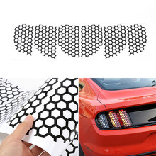 6pcs Car Rear Tail Light Honeycomb Style Stickers Cover Trim Black For Ford Mustang 2015-2017 Car Tail Light Sticker(China)
