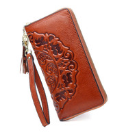 Fashion Leather Women Wallets Flower Printing Women Wallet Long Female Purses Zipper Purse Coin Ladies Purses Wrist Coin Pocket