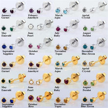 1 Pairs Earrings CZ Gem Birthstone Disposable Ear Piercing Stud 24K Gold Plating&Silver Earring Unit For Babies Kids Girls Gifts(China)