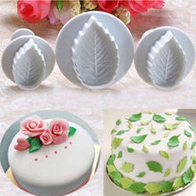 3D Rose Leaf Leaves 3 Pc/Set Cookie Plunger Cutter Fondant Sugarcraft Mold Cake Decoration Mould Baking Tools 68pcs set sugarcraft cake decorating tools cake plum flower fondant decor plunger cutter cookie pastry mold tools