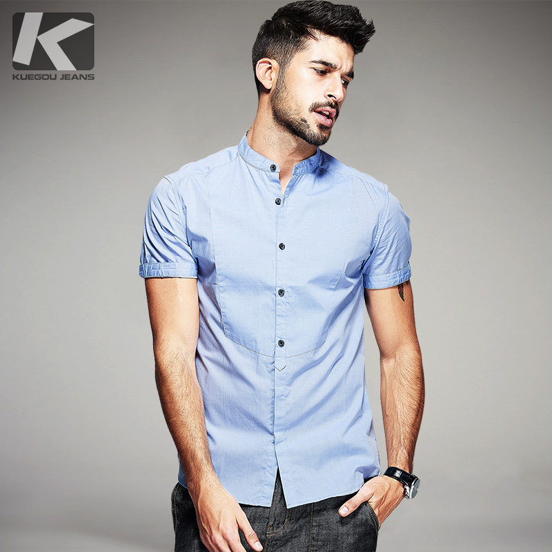 Summer Mens Casual Shirts 100% Cotton Patchwork Blue Gray For Man's Short Sleeve Slim Fit Clothes Male Wear Brand Clothing 15519