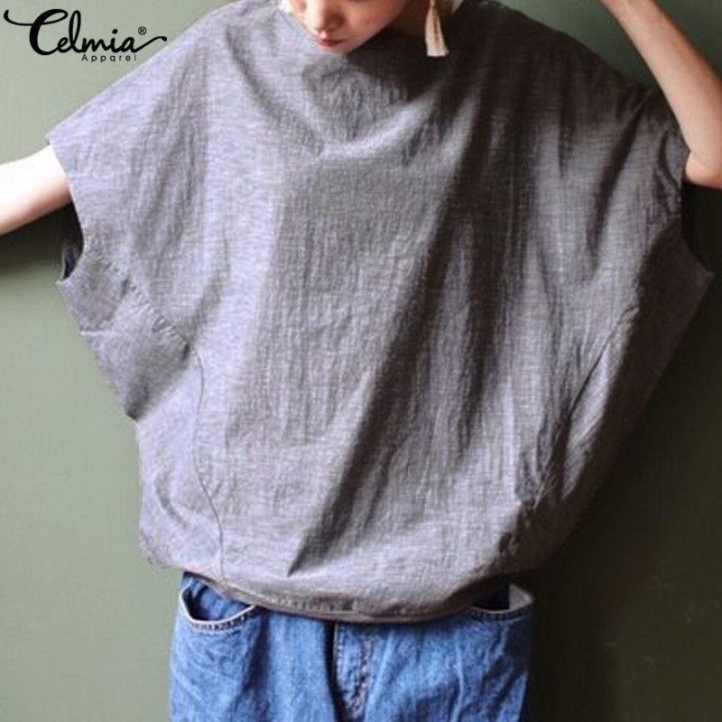 Celmia Women Casual Blouse Summer Batwing Sleeve Tunic Tops 2019 Female Clothes Loose Solid Vintage Linen Blusas Mujer Plus Size