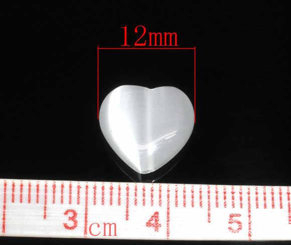 DoreenBeads Piatto Bianco di Fascino Del Cuore Creato Occhio di Gatto di Vetro Branelli Del Distanziatore 12x12mm, 30 PCs (B06567), di yiwu