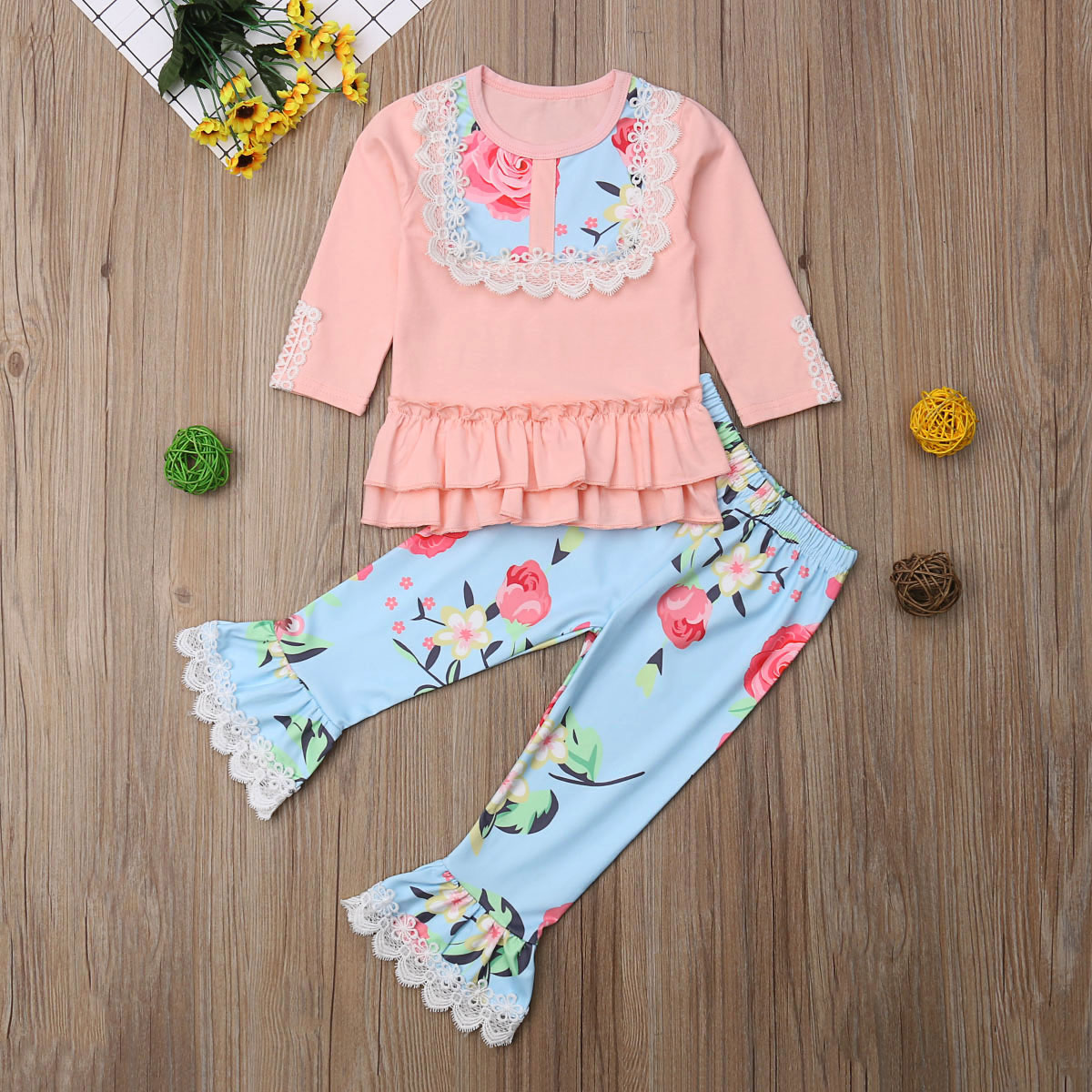 Toddler Newborn Kids Baby Girl Lace Ruffle Tops Flower Flared Pants 2Pcs Outfits Cotton Casual Cute Clothes 6M-5T
