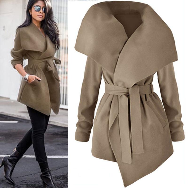 Women Lapel Belt Trench Coat Elegant Lace Up Woolen Long Coat Outerwear 2018 Spring Autumn Fashion Windbreaker Cardigan Overcoat