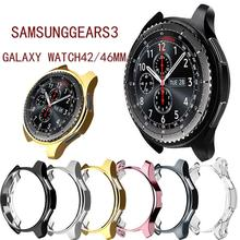 For Gear S3 Frontier Case For samsung Galaxy Watch 46mm band Strap Cover Soft TPU Plated protective Case Shell Frame protective cover for samsung gear s3 frontier case tpu plated all around protective bumper shell smartwatch r760 cover frame