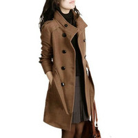 XUXI Winter Slim Double Breasted Overcoat Coats 2019 New Women Trench Woolen Coat Long Outerwear For Women Plus Size Coat FZ229
