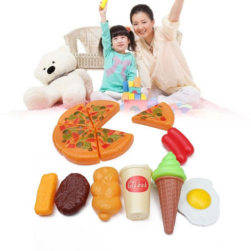 8 Stuk Mini Simulatie Pizza Set Keuken Pretend Toy Kleurrijke Voedsel Model Speelgoed Voor Kleuterschool Kinderen Geschenk Kinderen Dag Gift