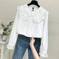 Fashion Woman Blouses 2019 Spring Summer Women Long Sleeve Lace Blouse Cotton Linen Shirts Tops Blusa Feminina