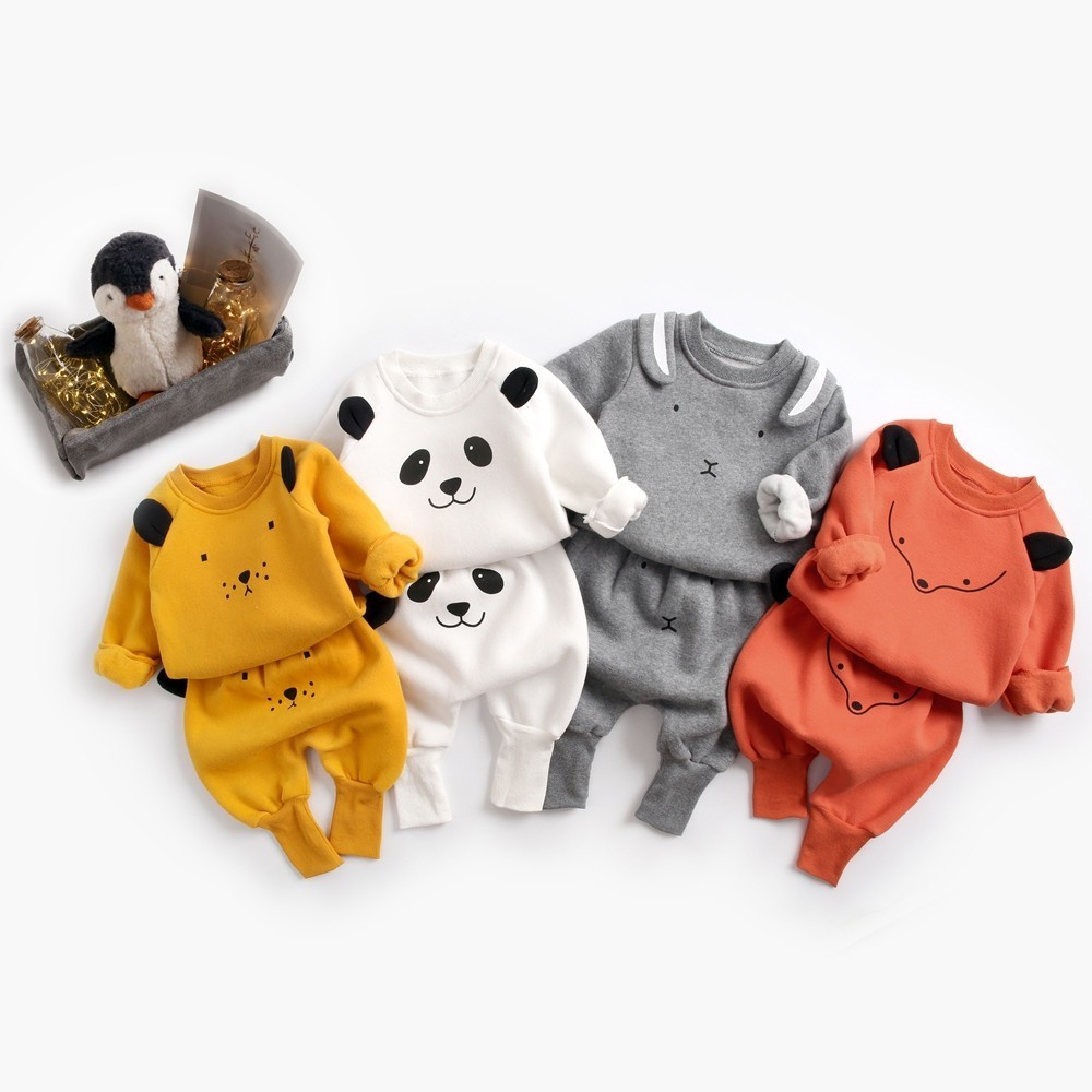 Soboba Kids Boys Clothing Set O neck Long Sleeve Animals Printing 2PCS Infant Warm Corduroy Thicken Children Clothing 1T 3T
