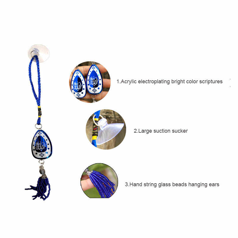 Luck สีฟ้าตุรกี Hamsa Hand Hand Evil Eye DIY Amulet แขวนตกแต่งบ้าน