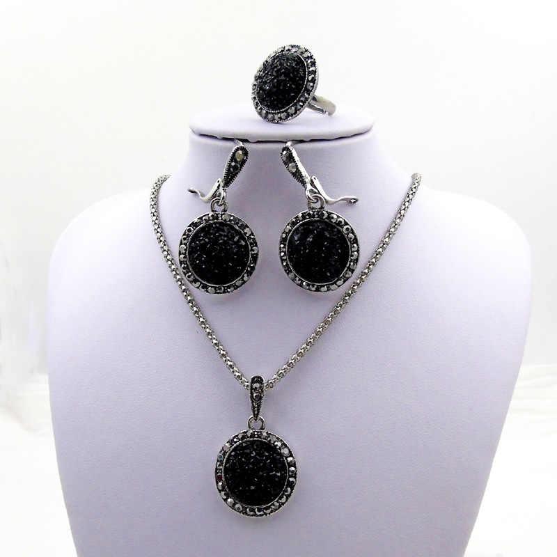 חדש שחור ריינסטון תכשיטי סטים לנשים אופנה עתיק כסף קריסטל עגול שרשרת עגילי טבעות סט כלה תכשיטי סטים