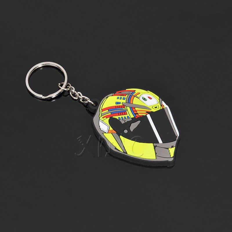 オートバイヘルメットモデルキーホルダーキーチェーンゴムキーリングため VR 46 93 モト Gp ホンダヤマハモーターアクセサリー