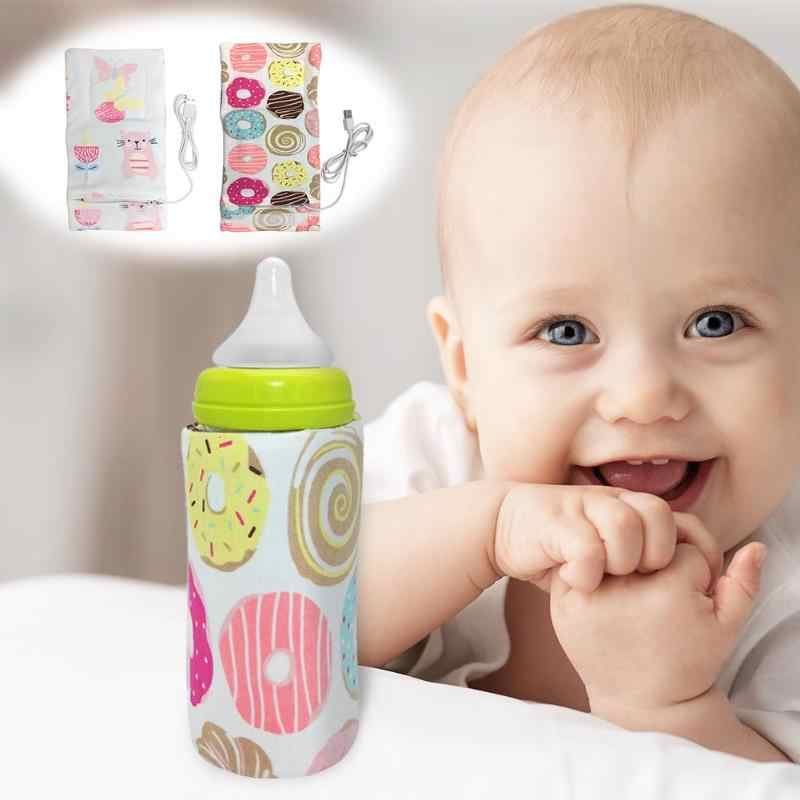 Portable USB Baby Bottle Warmer Outdoor Cup Warmer Heater Infant Feeding Bottle Bag Storage Heated Cover Insulation Bag