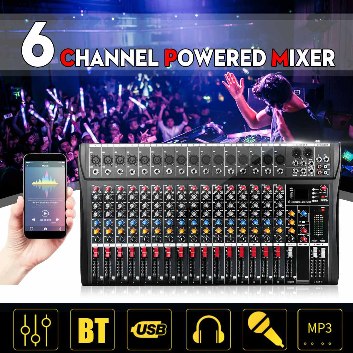 Professional 16 Channel bluetooth USB Audio Mixer DJ Sound Mixing Console Computer Karaoke Playback For Karaoke KTV Match PartyProfessional 16 Channel bluetooth USB Audio Mixer DJ Sound Mixing Console Computer Karaoke Playback For Karaoke KTV Match Party