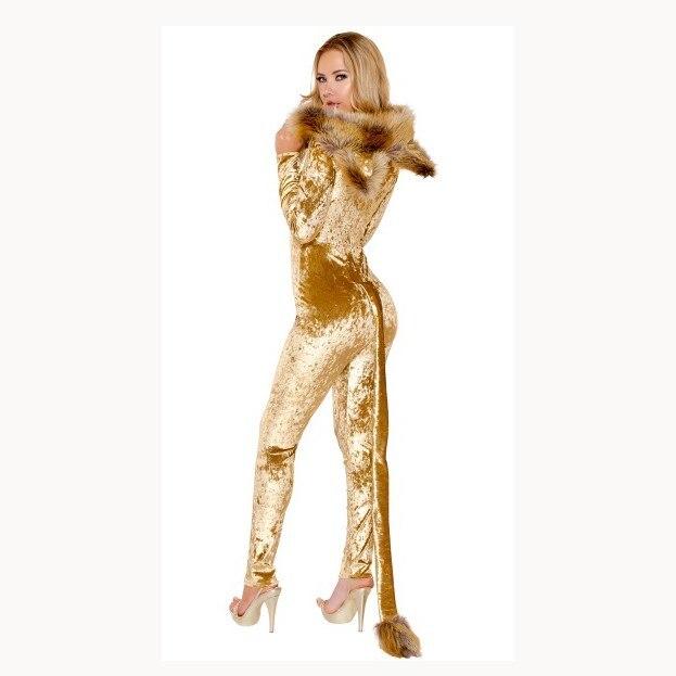 Halloween Animal Cosplay Party Costume Deep V neck Bodysuit Faux Fur Jumpsuit Women Long Sleeve Catwoman Jumpsuit