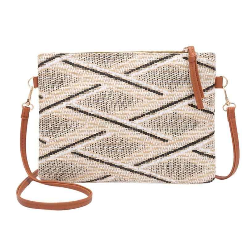 1d235159b42d Винтажная Женская плетеная сумка-мессенджер на плечо, Повседневная сумка  через плечо, женская сумка