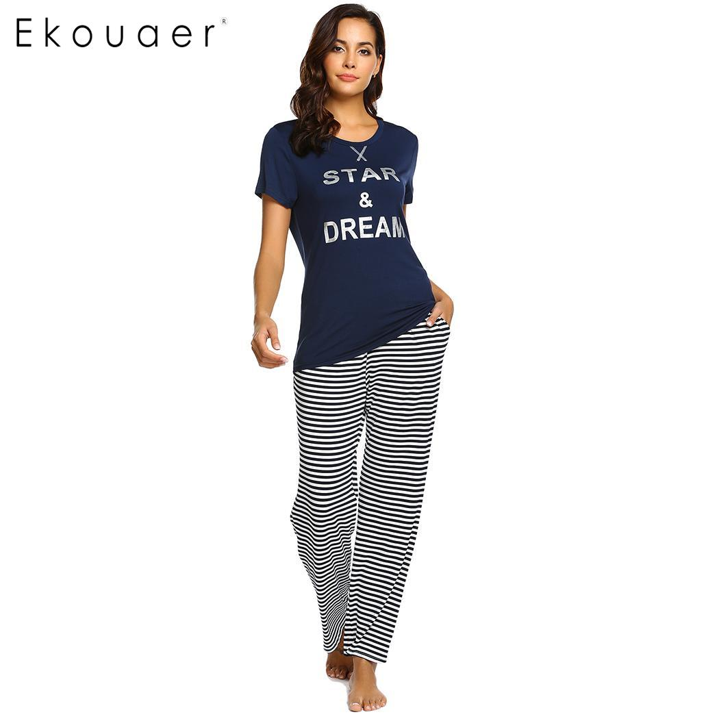 Ekouaer Pajamas Sets Women Nighties Sleepwear Casual Short Sleeve Letter Print  Top Long Strips Pants Homewear 96668339d