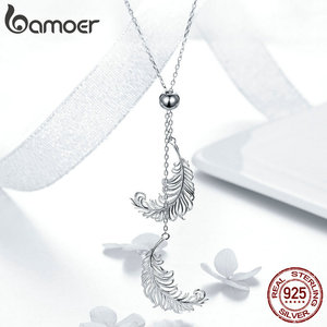 Image 3 - BAMOER Vintage Genuine 925 Sterling Silver Feathers Shape Long Chain Feather Necklaces Pendants Sterling Silver Jewelry SCN322