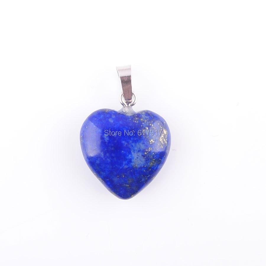 RONGZUAN Natural Lapis Lazuli Gem Stone Lovers Love Heart Bead Reiki Chakra Healing Pendant Necklace Jewelry TN3438