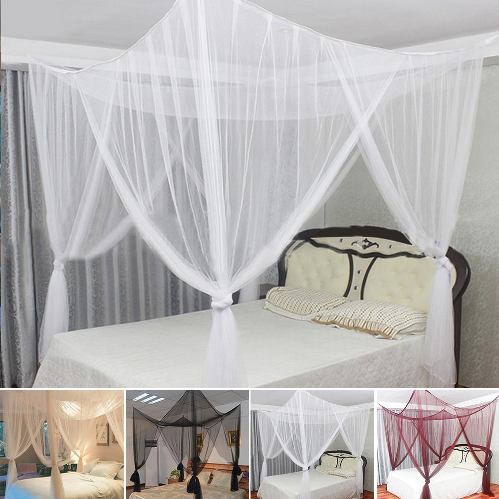 - White Elegant Bed Canopy Set 4 Corner Post Bed Canopy Mosquito Net