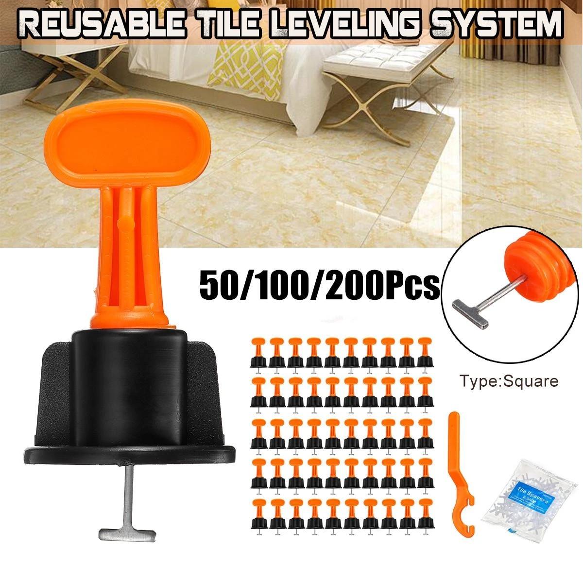50ppcs 100pcs 200pcs ceramic tile leveler tools tile leveling locator t leveling system kits plastic tile spacers reusable