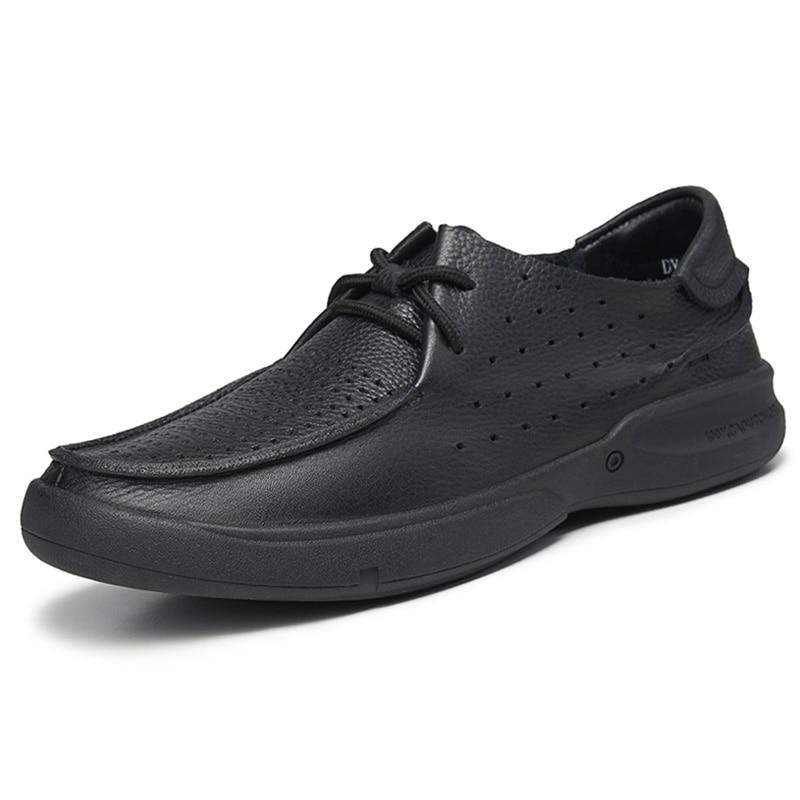 US 6 12 décontracté En Cuir Véritable Chaussures En Cuir Souple pour Hommes D'affaires Homme Respirant à lacets Évider D'âge Moyen Père Chaussures - 4