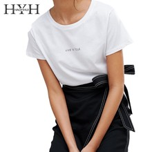 HYH Haoyihui 2019 Summer New Girl Pure Color White Short Sleeve Simple Commuter Letter Print Solid Round Neck T-shirt