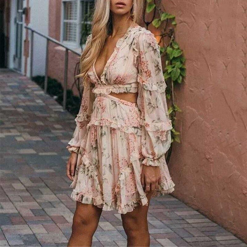 Haute V Dress Sexy Femmes Taille Robe Vgh Évider Pour Automne Casual Robes Manches Mini Picture As Mode Vêtements Imprimer Lanterne Cou qzRWW8ctg