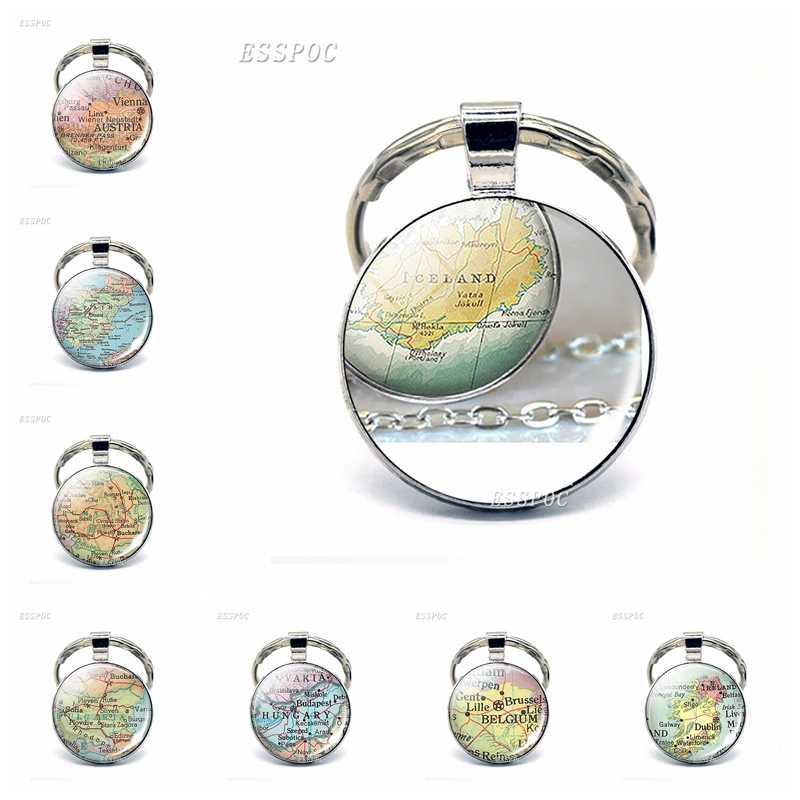 Европа страны карта стеклянный кулон брелок Италия Франция шотланд Польша модный Сувенирный брелок ювелирные изделия Подарки для женщин мужчин